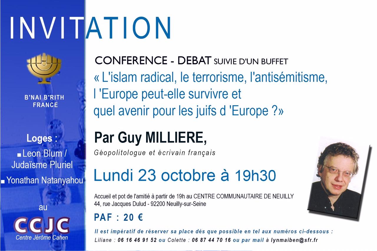 Flyer conférence - débat par Guy Millière lundi 23 octobre à 19h30 - Neuilly-sur-Seine